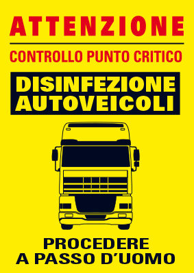 Cartellone disifenzione autoveicoli