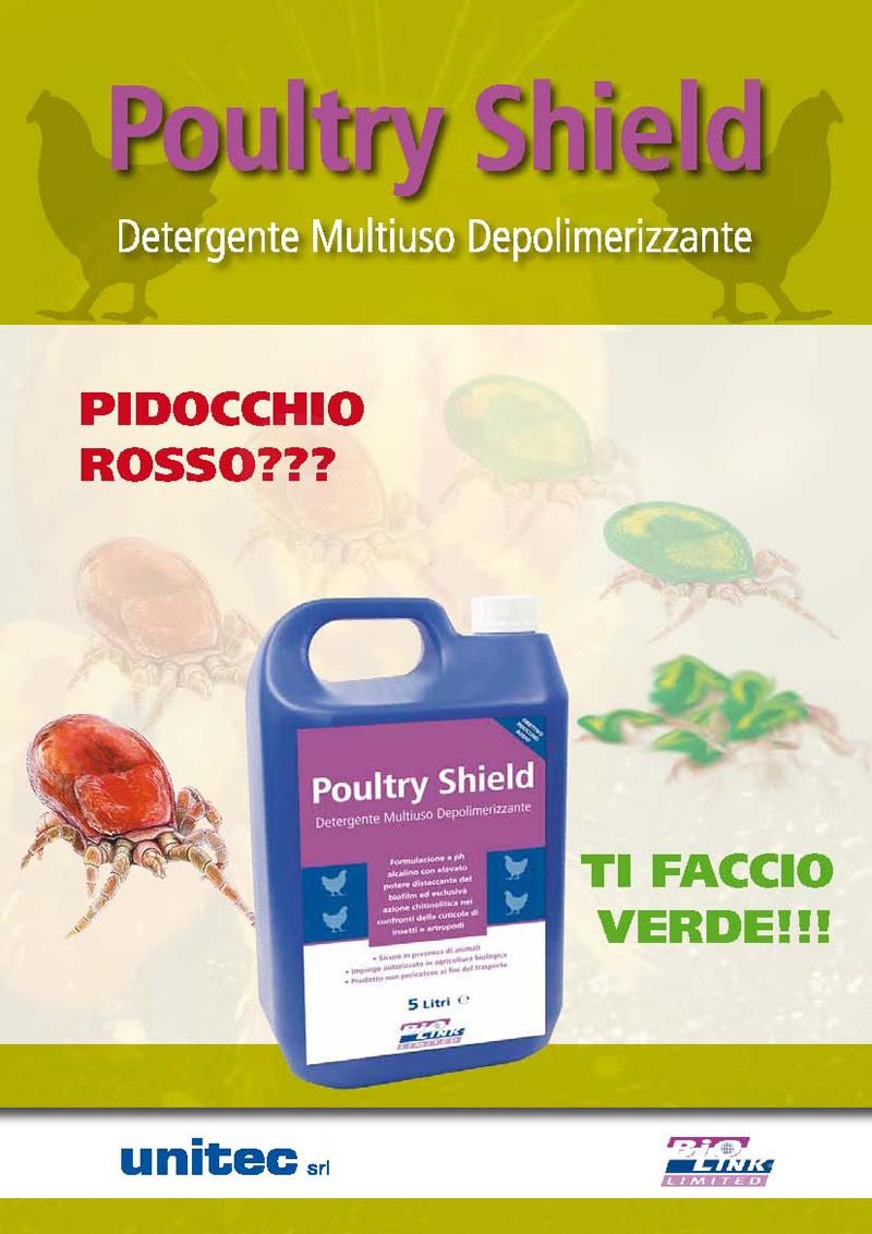 Poultry Shield: detergente multiuso depolimerizzante. Contro il pidocchio rosso.