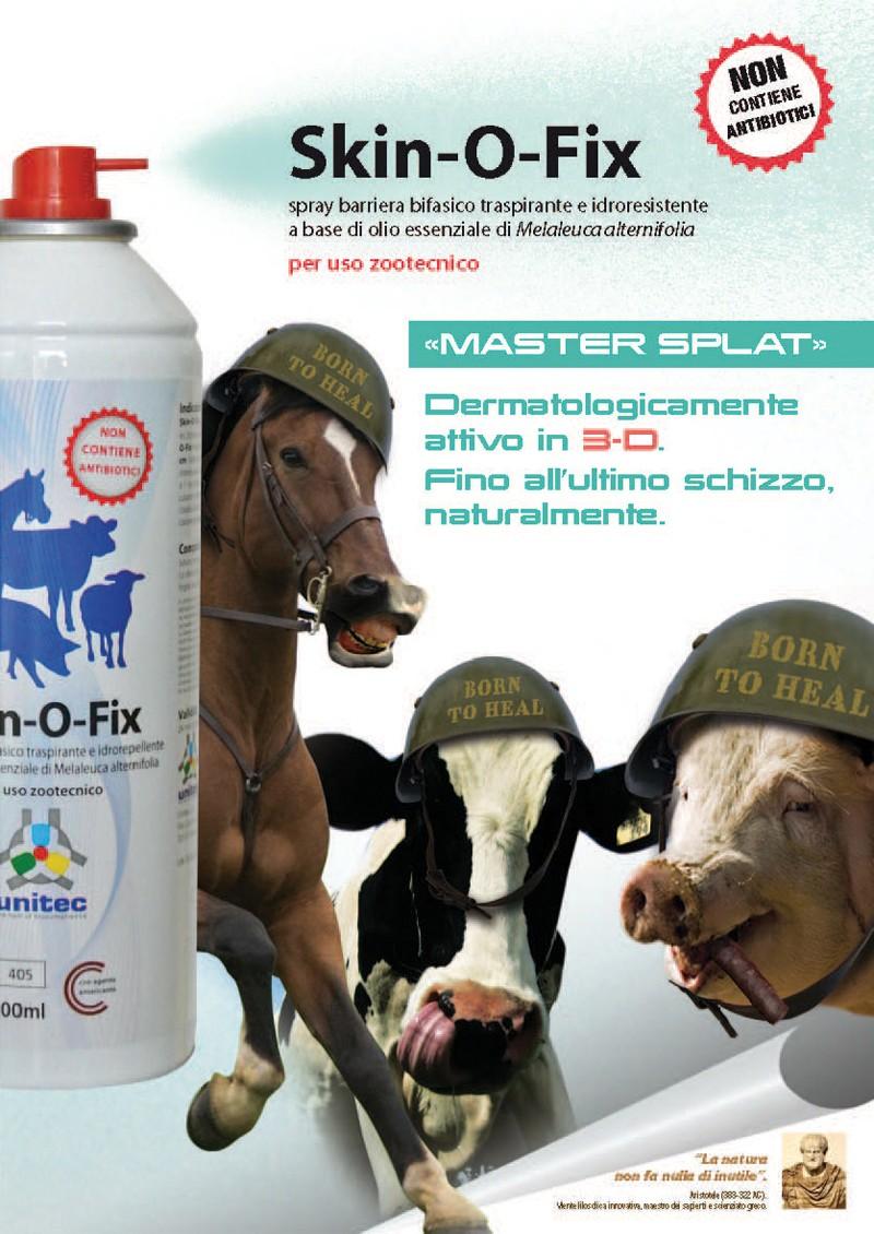 Skin-O-Fix per uso zootecnico. Spray barriera bifasico traspirante e idroresistente a base di olio essenziale di melaleuca alternifolia