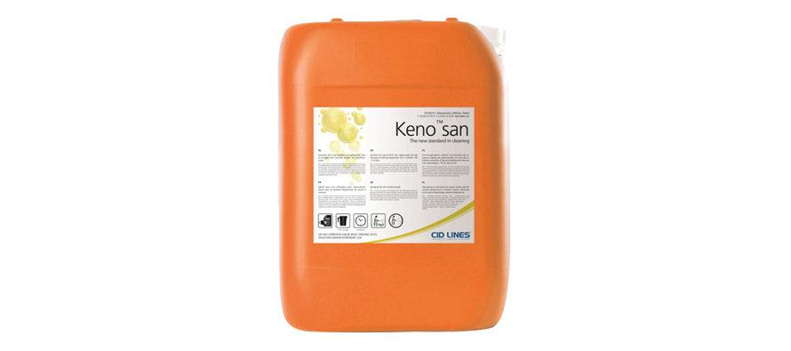 Keno san</br> <span style='color:#eb8212; font-size:18px'>Detergente fortemente alcalino (pH 12,6) ad elevato rendimento schiumogeno </span>