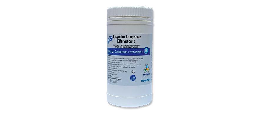 Easychlor Compresse Effervescenti – PMC 20373</br> <span style='color:#eb8212; font-size:18px'>Disinfezione di cisterne, tubazioni e abbeveratoi degli impianti idrici in uso negli allevamenti zootecnici </span>