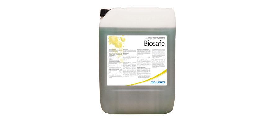 """Biosafe</br> <span style='color:#eb8212; font-size:18px'>Detergente per automezzi a pH alcalino, qualità """"Food Grade"""" e certificazione di non corrosività </span>"""