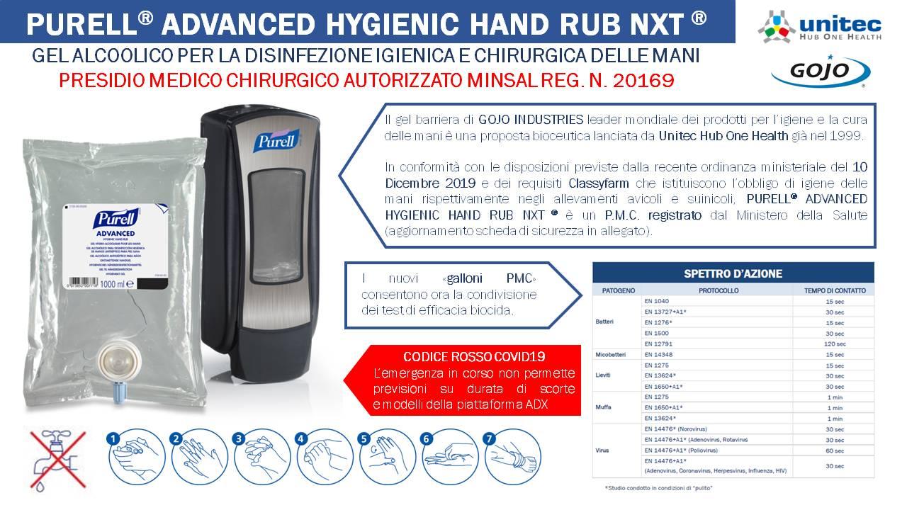 Dati efficacia biocida Purell® Advanced Hygienic Hand Rub NXT® - PMC 20169
