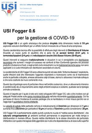 USI FOGGER 0.6 per la gestione COVID-19